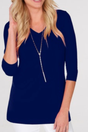 JudyP V-Neck 3/4 Sleeve Tunic - Front cropped