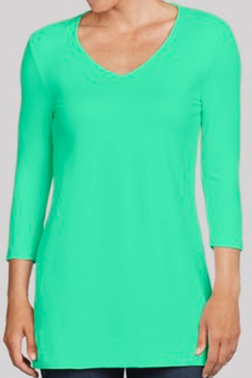 JudyP V-Neck 3/4 Sleeve Tunic - Side Cropped Image