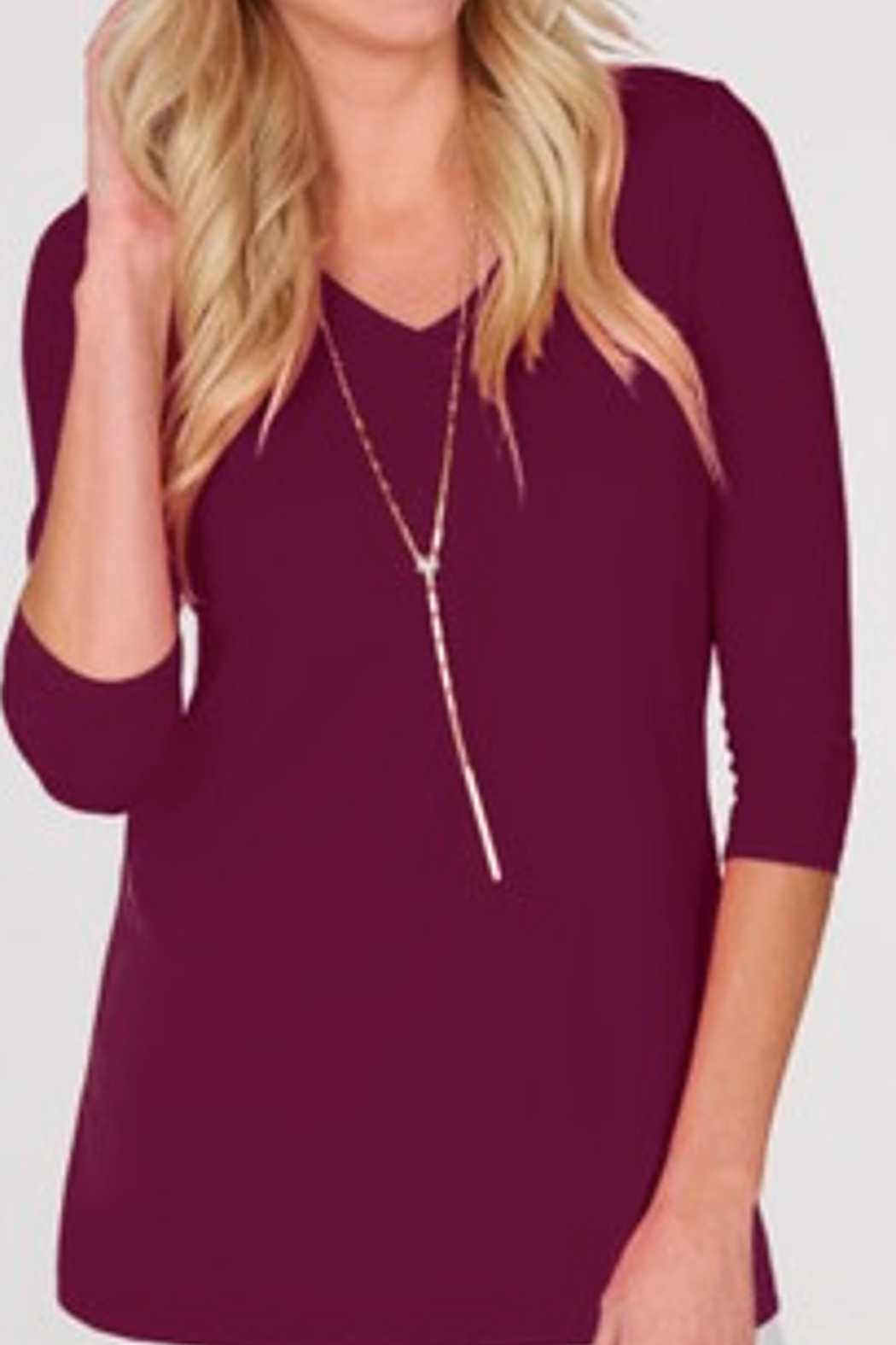 JudyP V-Neck 3/4 Sleeve Tunic - Main Image