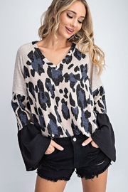 143 Story V Neck Bell Sleeve Leopard Top - Product Mini Image