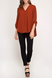 She + Sky V Neck Blouse - Product Mini Image