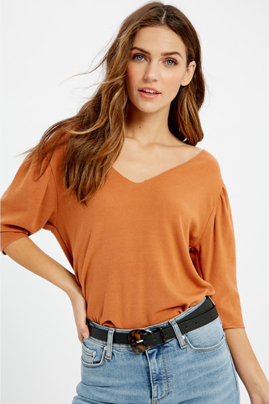 Wishlist V Neck Brushed Hacci Top - Main Image