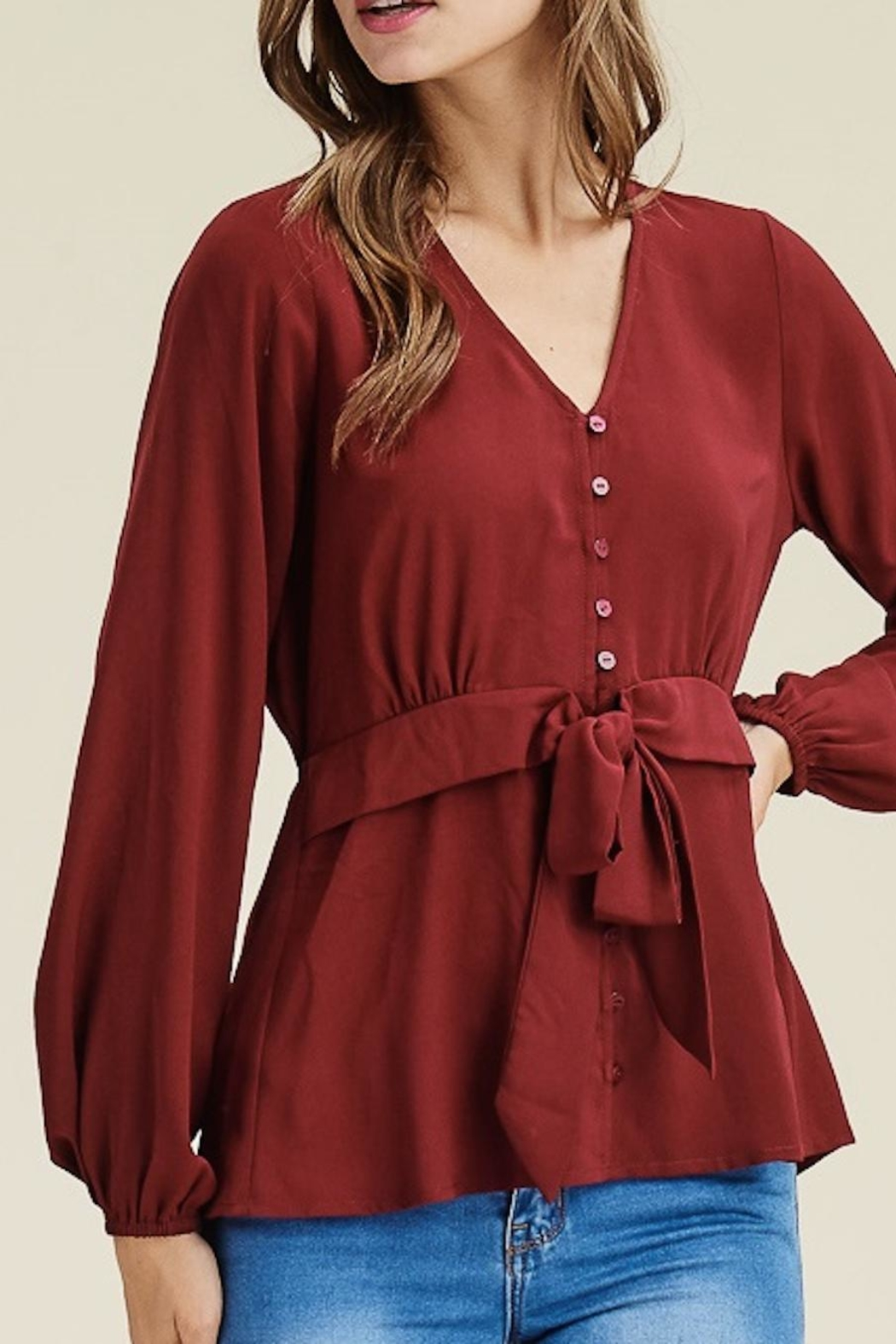 Staccato V-Neck Button-Down Blouse - Back Cropped Image