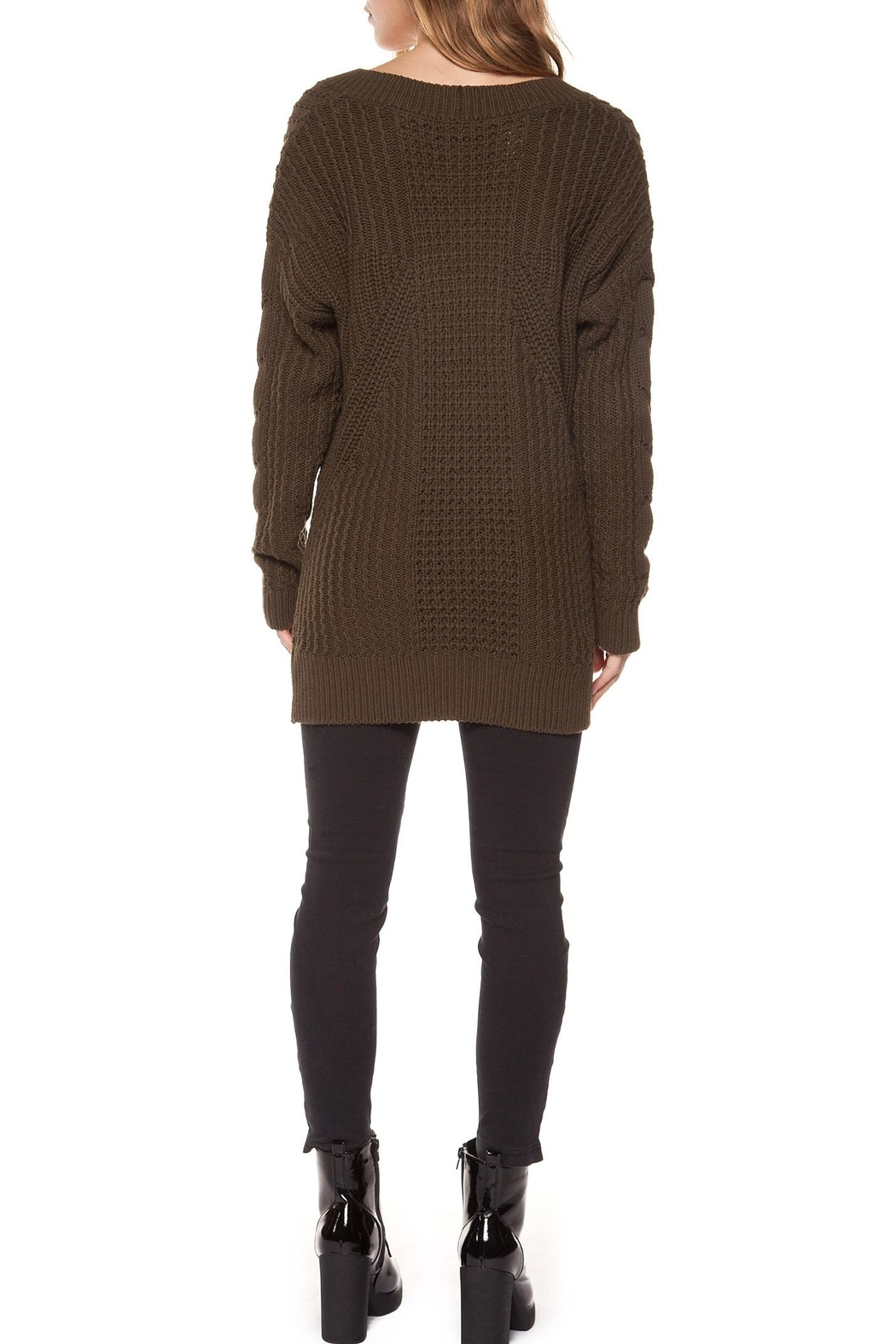 Dex V-Neck Cable-Knit Sweater - Front Full Image