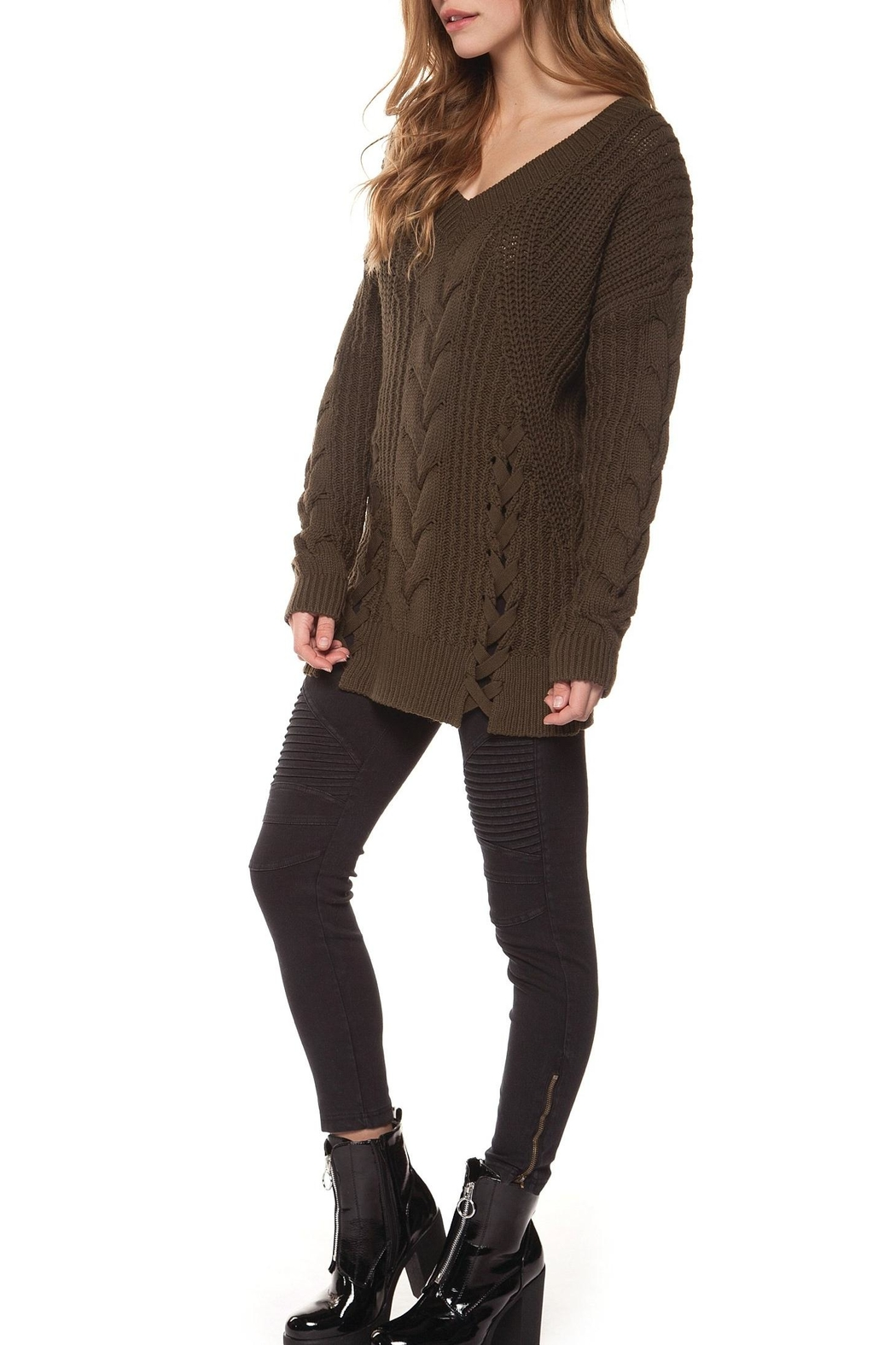 ae754e934 Dex V-Neck Cable-Knit Sweater from Florida by Dressing Room Boutique ...