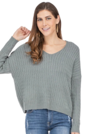 Jade V Neck Cable Sweater - Product Mini Image