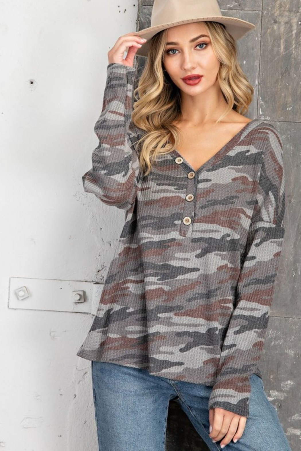 143 Story V Neck Camo Casual Top - Front Cropped Image