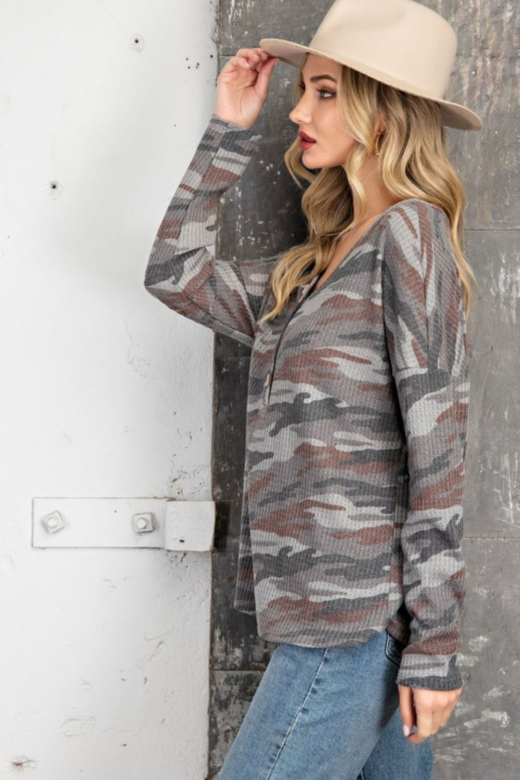 143 Story V Neck Camo Casual Top - Front Full Image