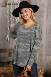 Ninexis V Neck Camo Top - Front cropped