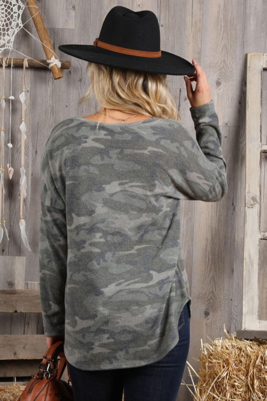 Ninexis V Neck Camo Top - Front Full Image