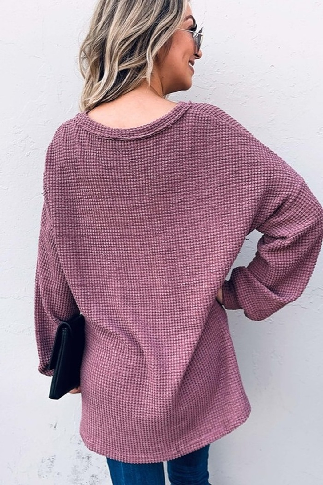 And the Why V Neck Casual Knit Tunic Top - Side Cropped Image