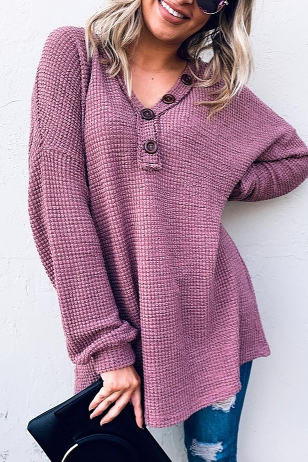 And the Why V Neck Casual Knit Tunic Top - Main Image