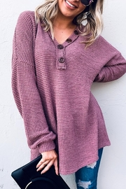 And the Why V Neck Casual Knit Tunic Top - Front cropped