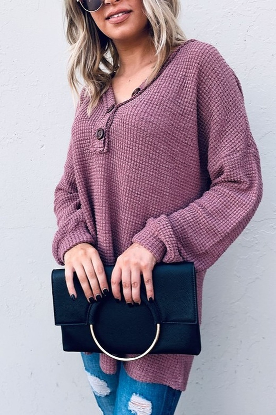 And the Why V Neck Casual Knit Tunic Top - Front Full Image