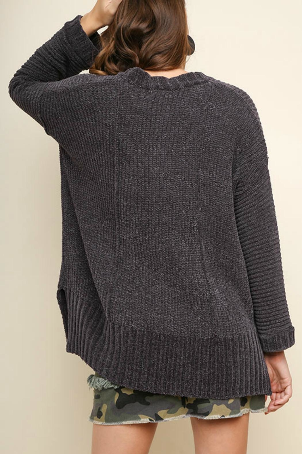 Umgee USA V-Neck Chenille Pullover - Side Cropped Image