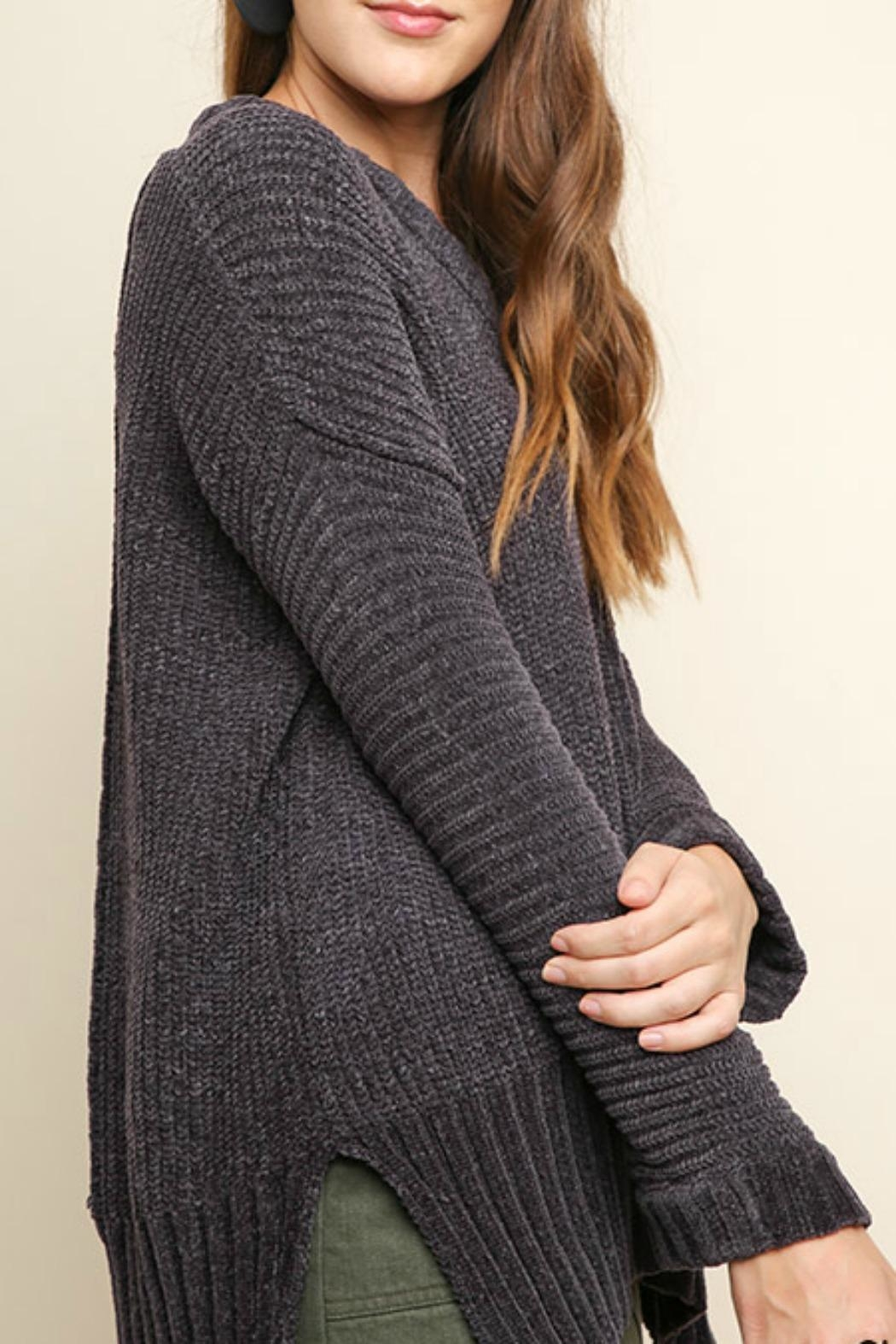 Umgee USA V-Neck Chenille Pullover - Front Full Image