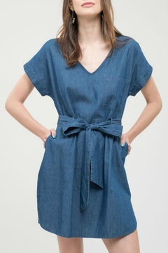 Shoptiques Product: V-Neck Denim Dress