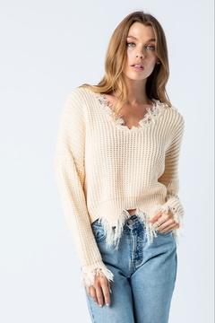 BaeVely V-Neck Distressed Sweater - Product List Image