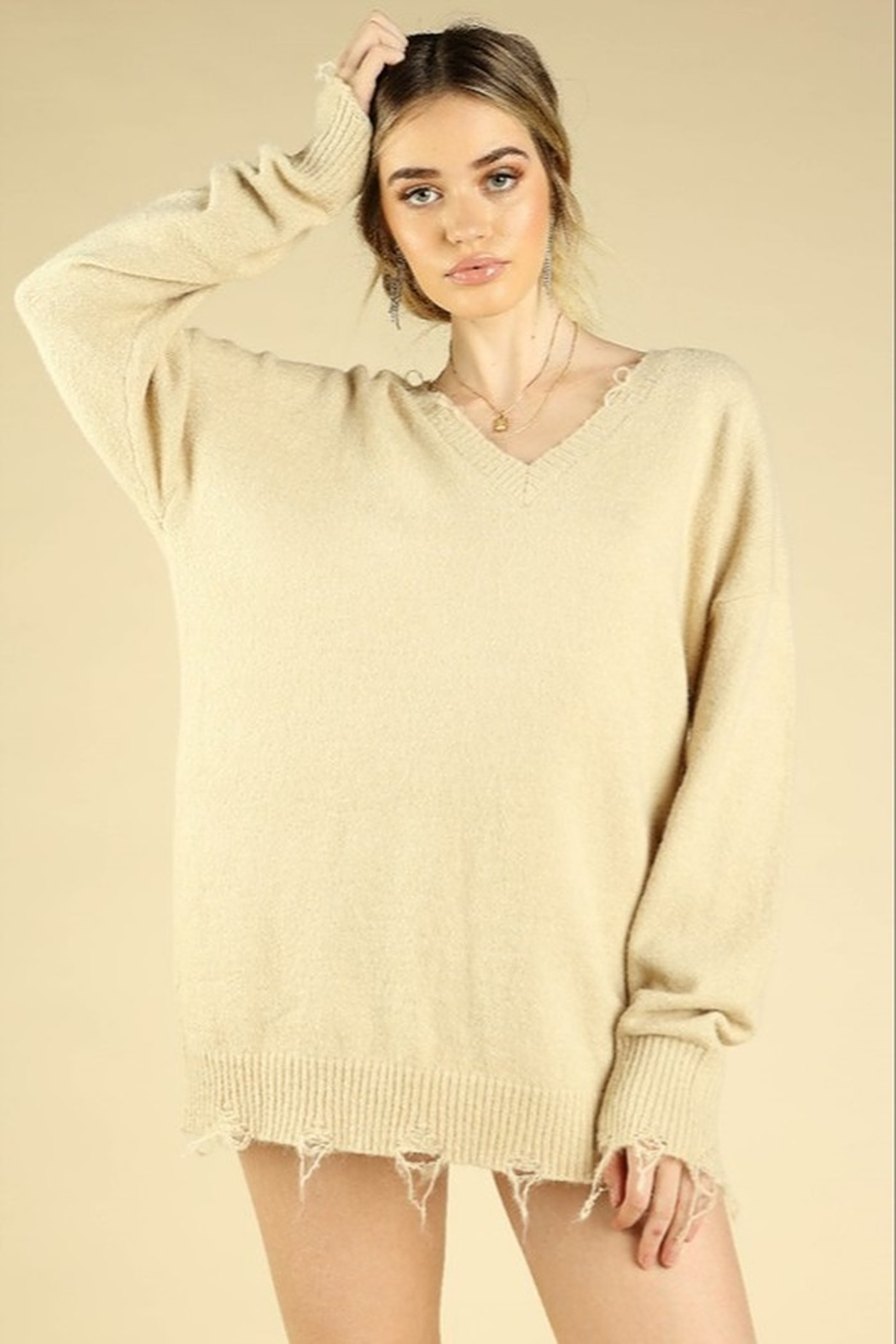 Honey Punch V-Neck Distressed Sweater - Front Cropped Image