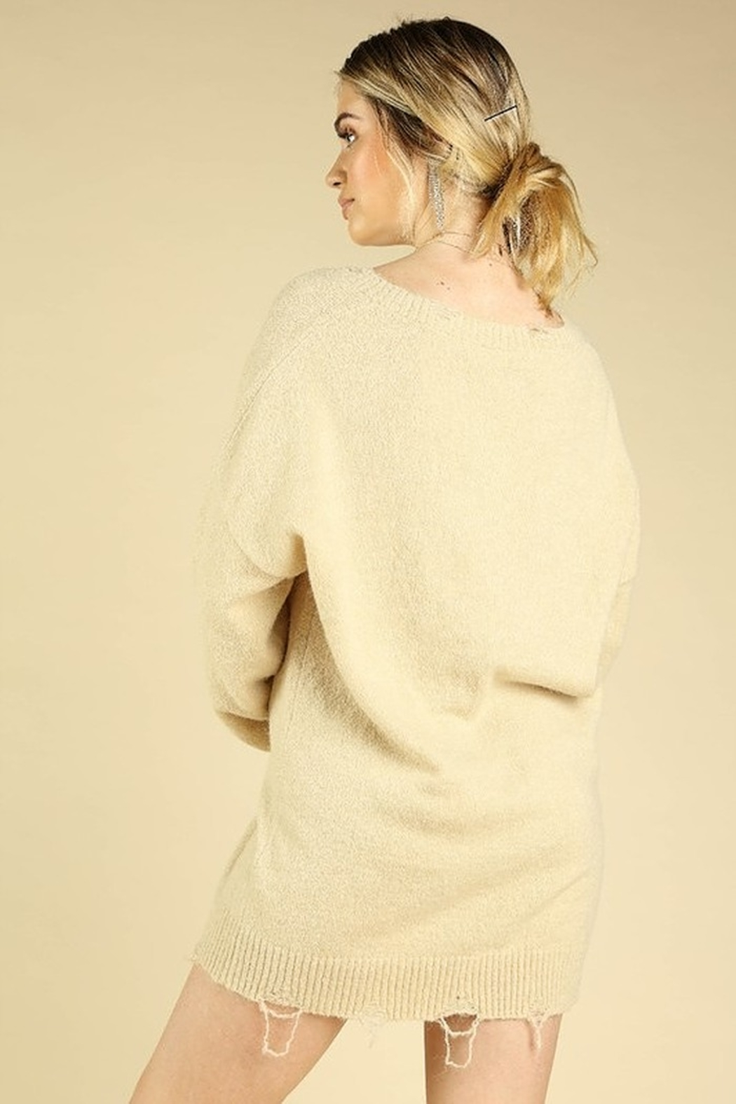 Honey Punch V-Neck Distressed Sweater - Front Full Image