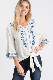 Hailey & Co V Neck Embroidered Tie Front Top - Product Mini Image