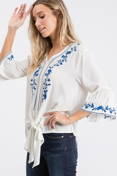 Hailey & Co V Neck Embroidered Tie Front Top - Alternate List Image