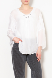 Whisper & Glow	 V-neck Eyelet Detail Top - Product Mini Image