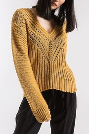 rag poets V-Neck Eyelet Sweater - Product Mini Image