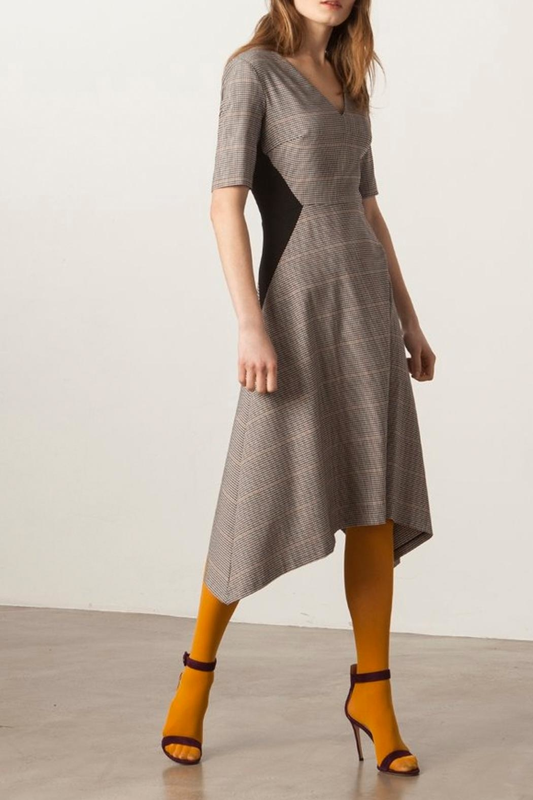 Donna Morgan V-Neck Fit-And-Flare Dress - Side Cropped Image