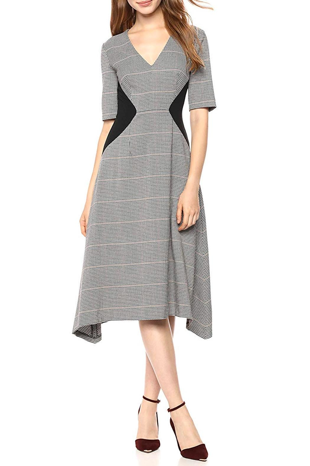 Donna Morgan V-Neck Fit-And-Flare Dress - Main Image