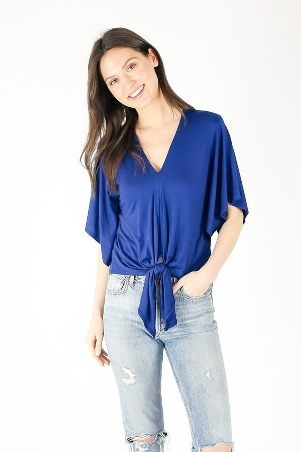 Six Fifty V Neck Flutter Sleeve Top - Front Cropped Image