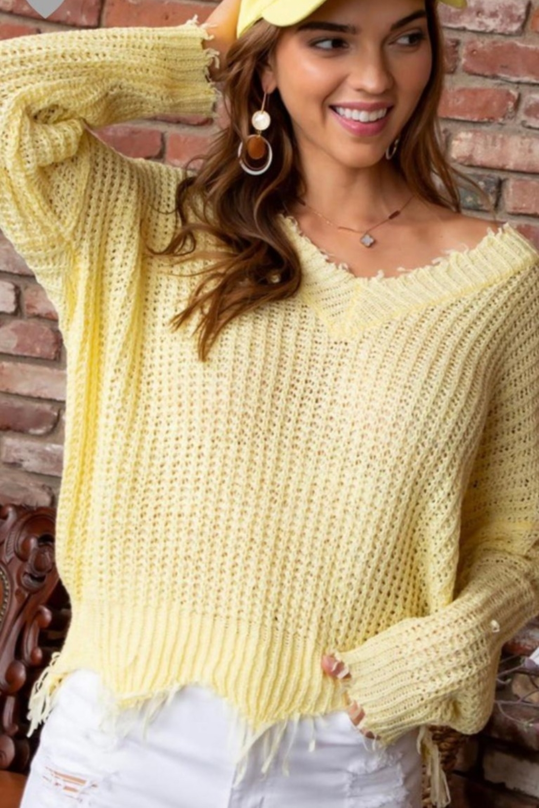 Main Strip V NECK FRAYED EDGE SWEATER - Front Cropped Image