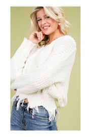 Polly & Esther V-Neck Frayed Sweater - Product Mini Image