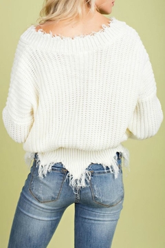 Main Strip V-Neck Frayed Sweater - Alternate List Image