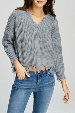 Main Strip V-Neck Frayed Sweater - Product List Image