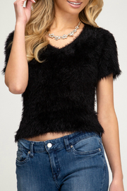 She + Sky V-Neck Fuzzy Sweater Tee - Front cropped