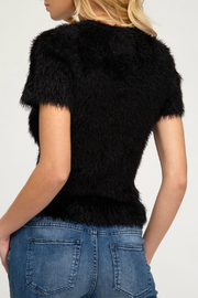 She + Sky V-Neck Fuzzy Sweater Tee - Product Mini Image