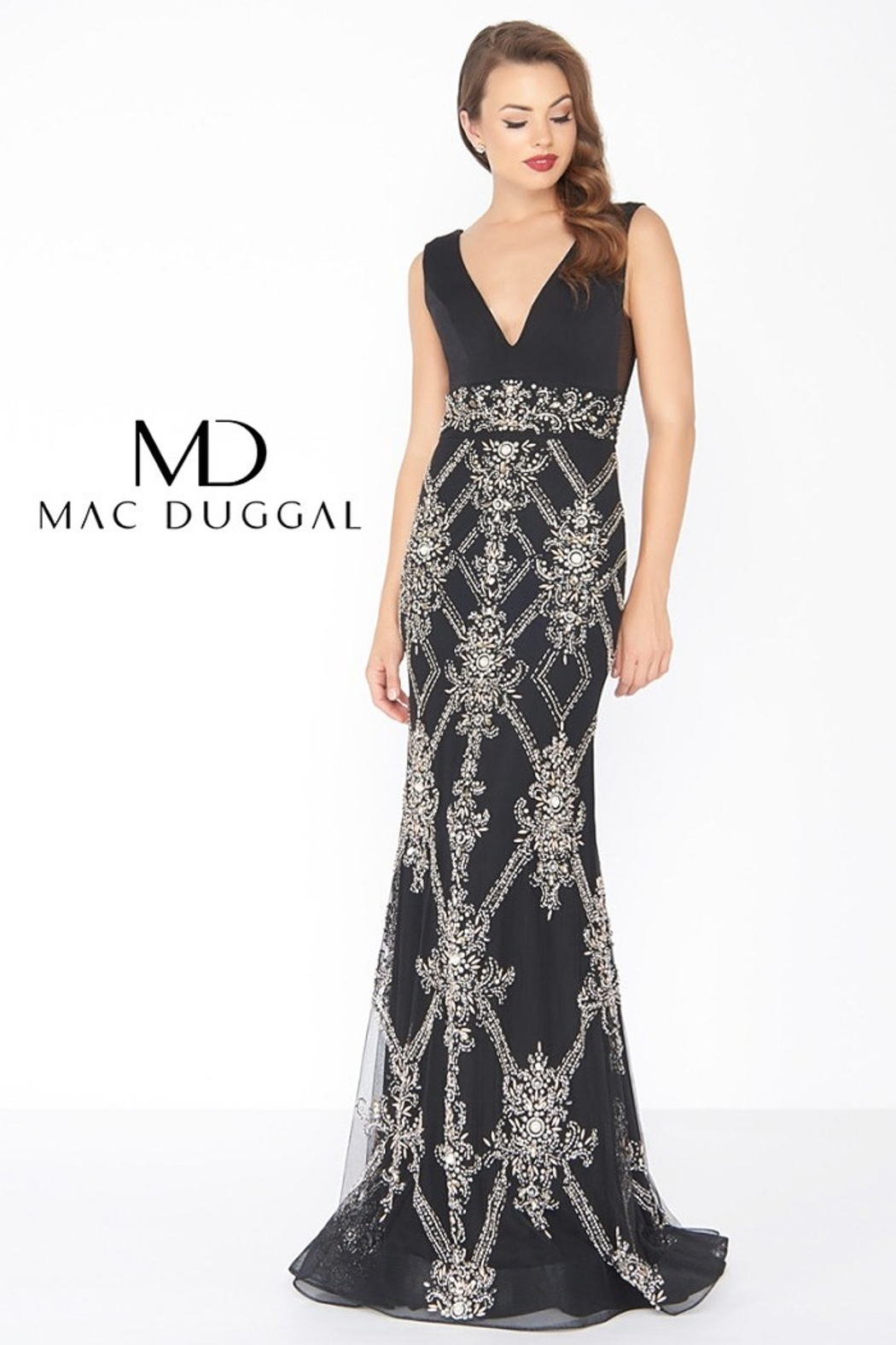 Mac Duggal V NECK GOWN - - Main Image