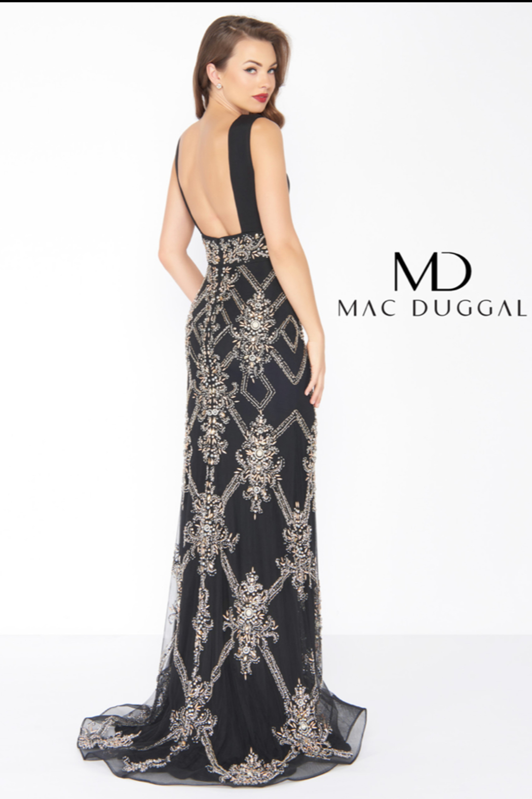 Mac Duggal V NECK GOWN - - Side Cropped Image