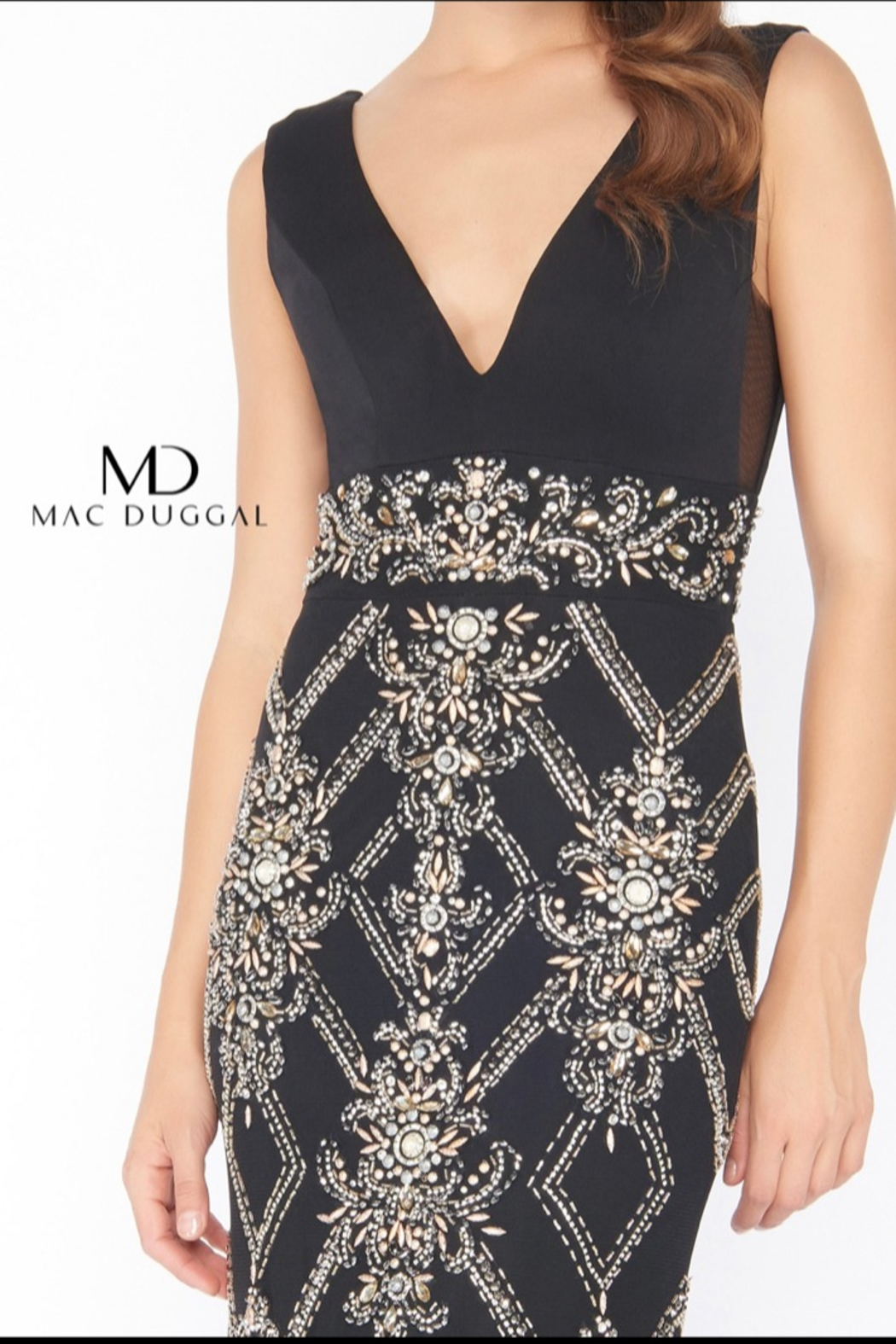 Mac Duggal V NECK GOWN - - Front Full Image