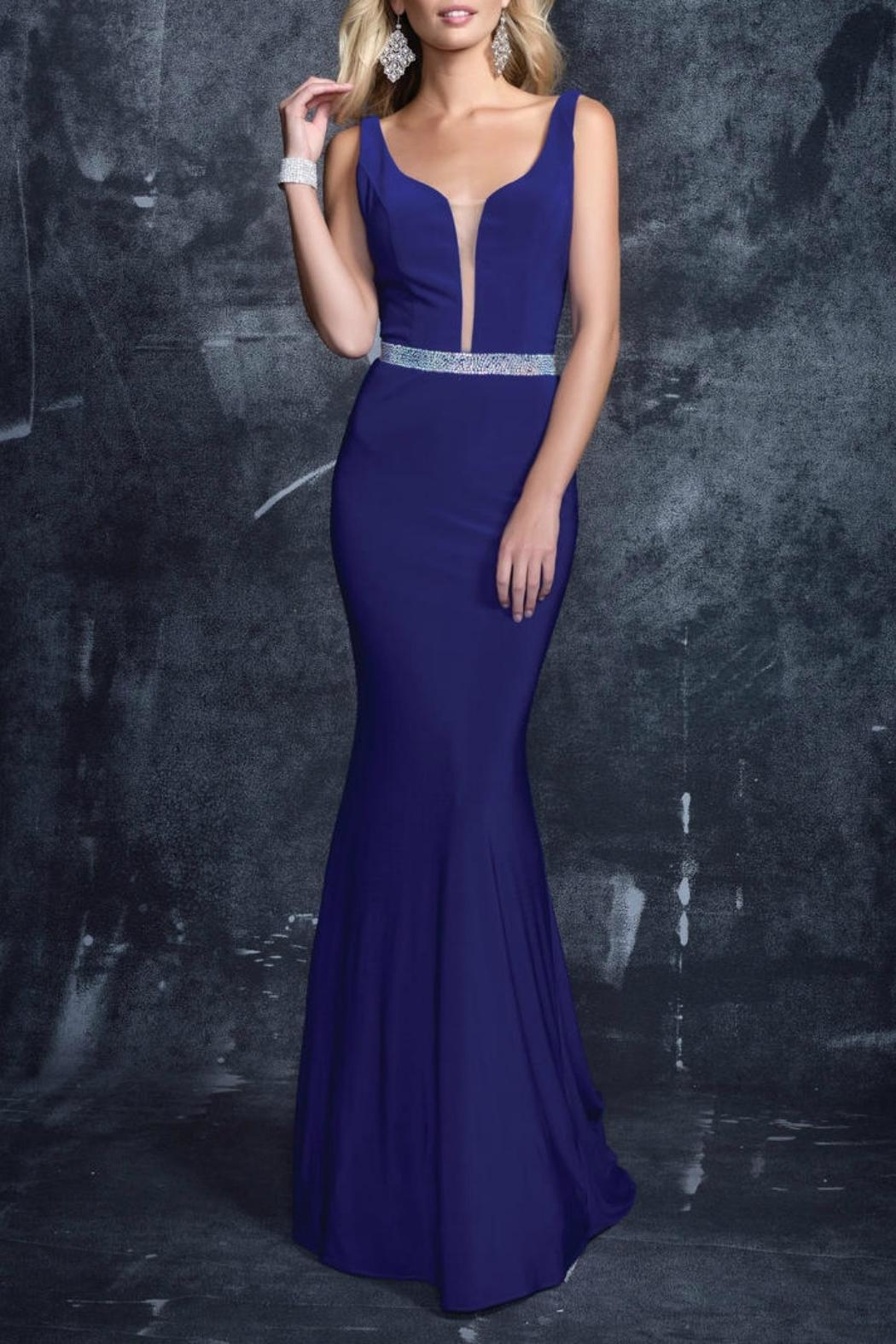 Nina Canacci V-Neck Gown - Side Cropped Image