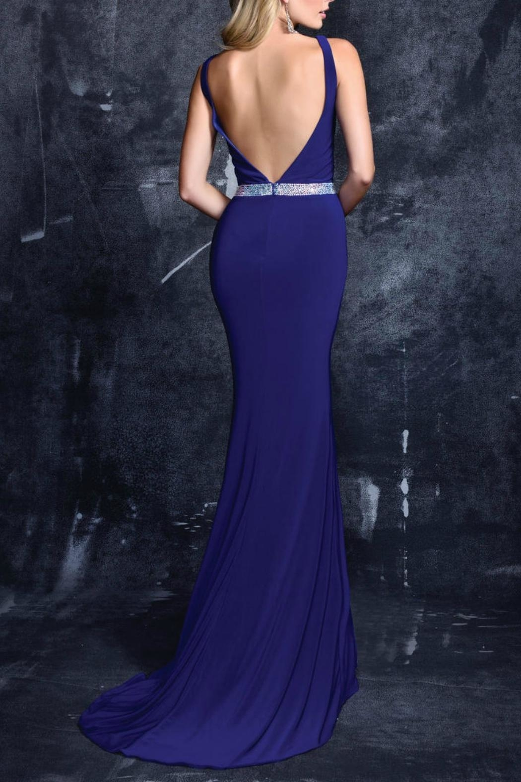 Nina Canacci V-Neck Gown - Back Cropped Image