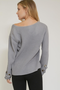 1 Funky V-Neck Grommet Sweater - Alternate List Image