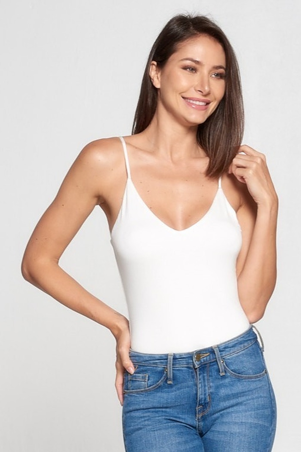 AAAAA Fashion V-Neck Knit Bodysuit - Front Cropped Image