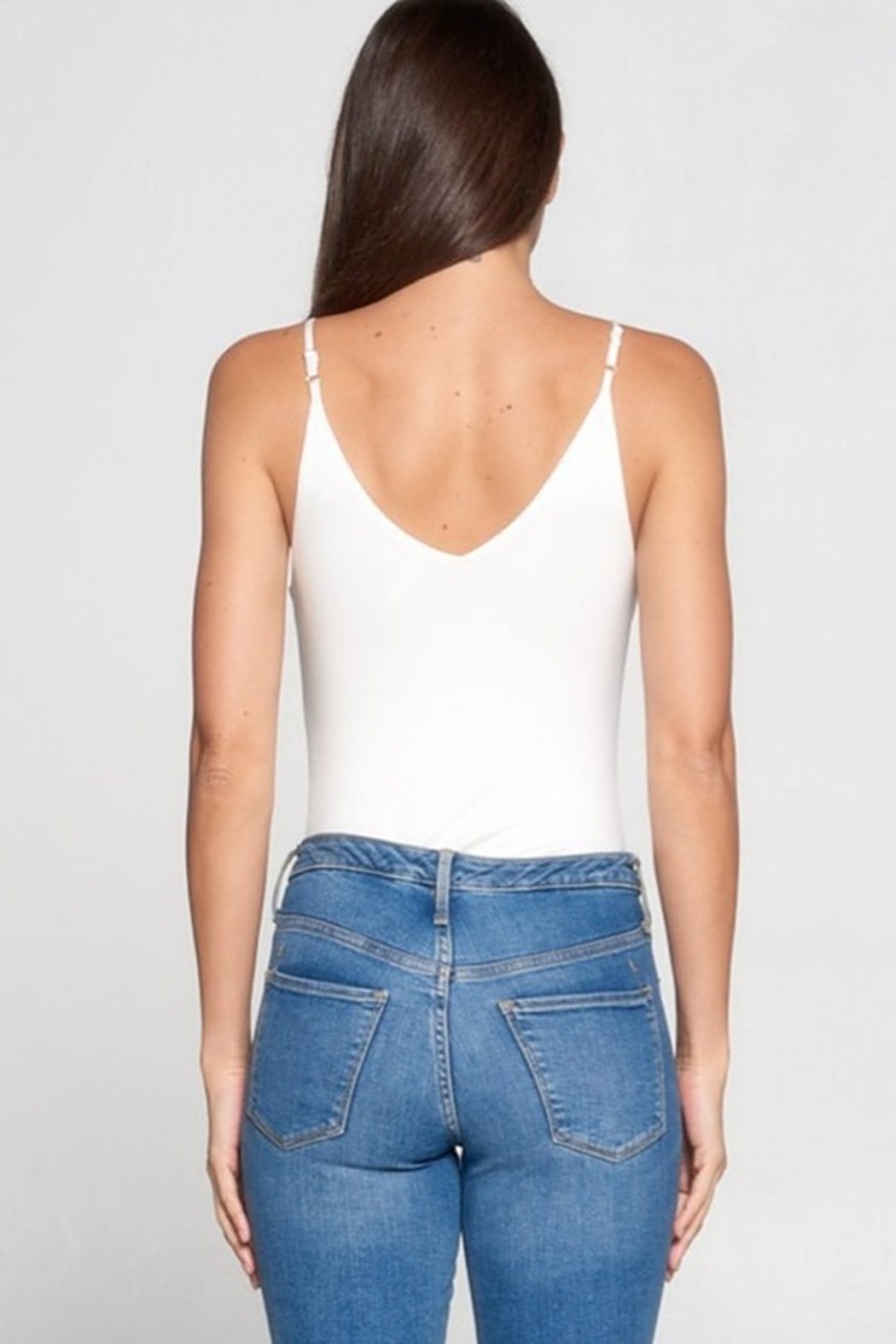 AAAAA Fashion V-Neck Knit Bodysuit - Side Cropped Image