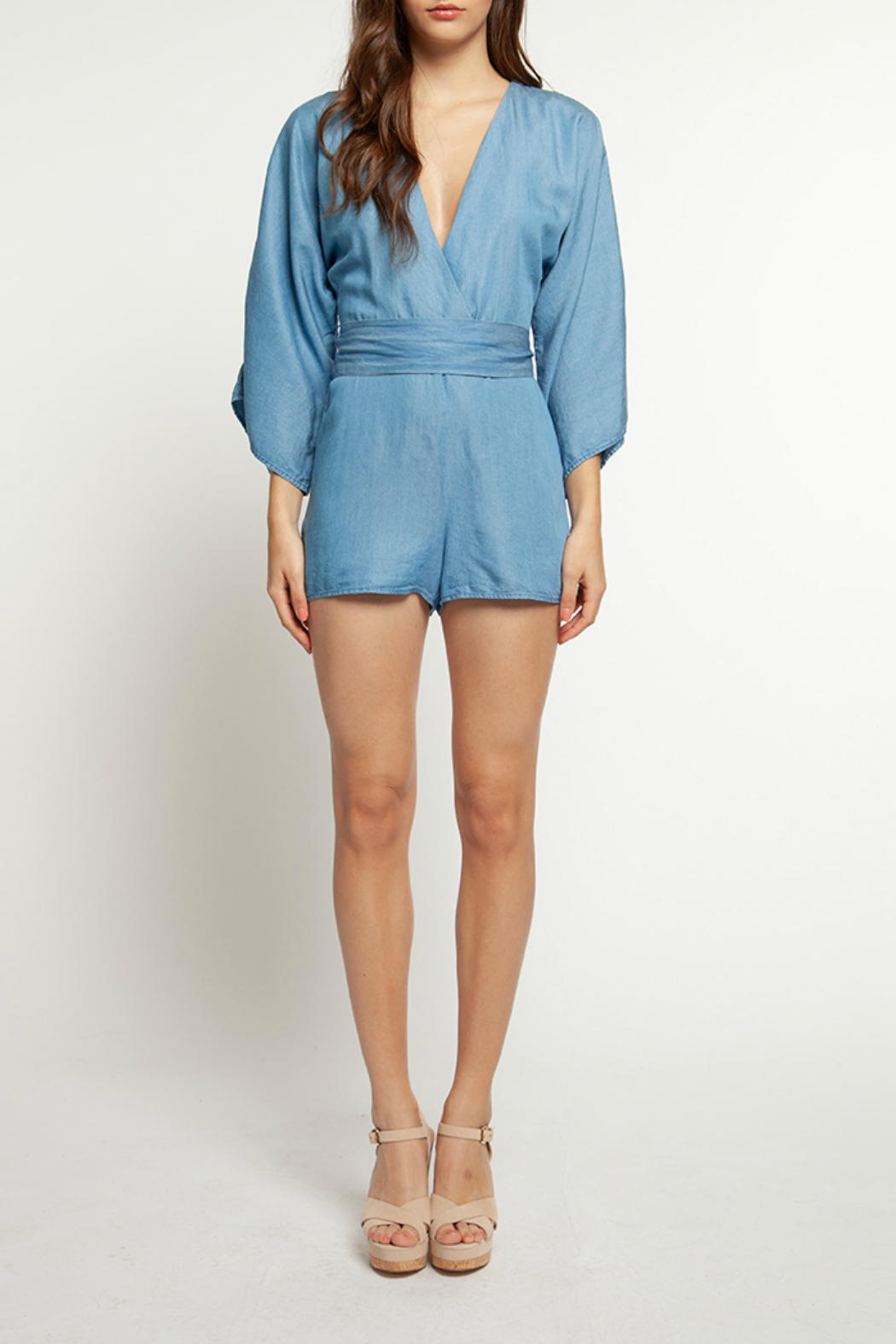 Dex V Neck L/S Belted Denim Romper - Main Image