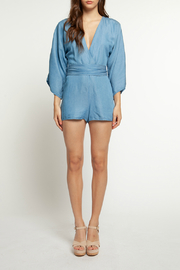 Dex V Neck L/S Belted Denim Romper - Front cropped