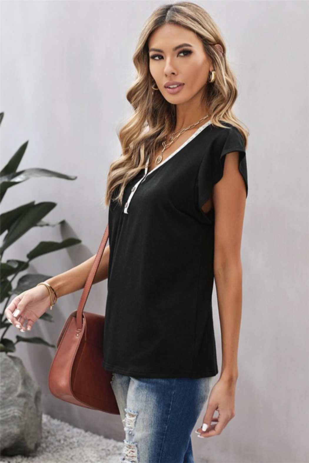Shewin V Neck Lace Trim Short Sleeve Tee - Front Full Image