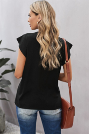 Shewin V Neck Lace Trim Short Sleeve Tee - Side cropped