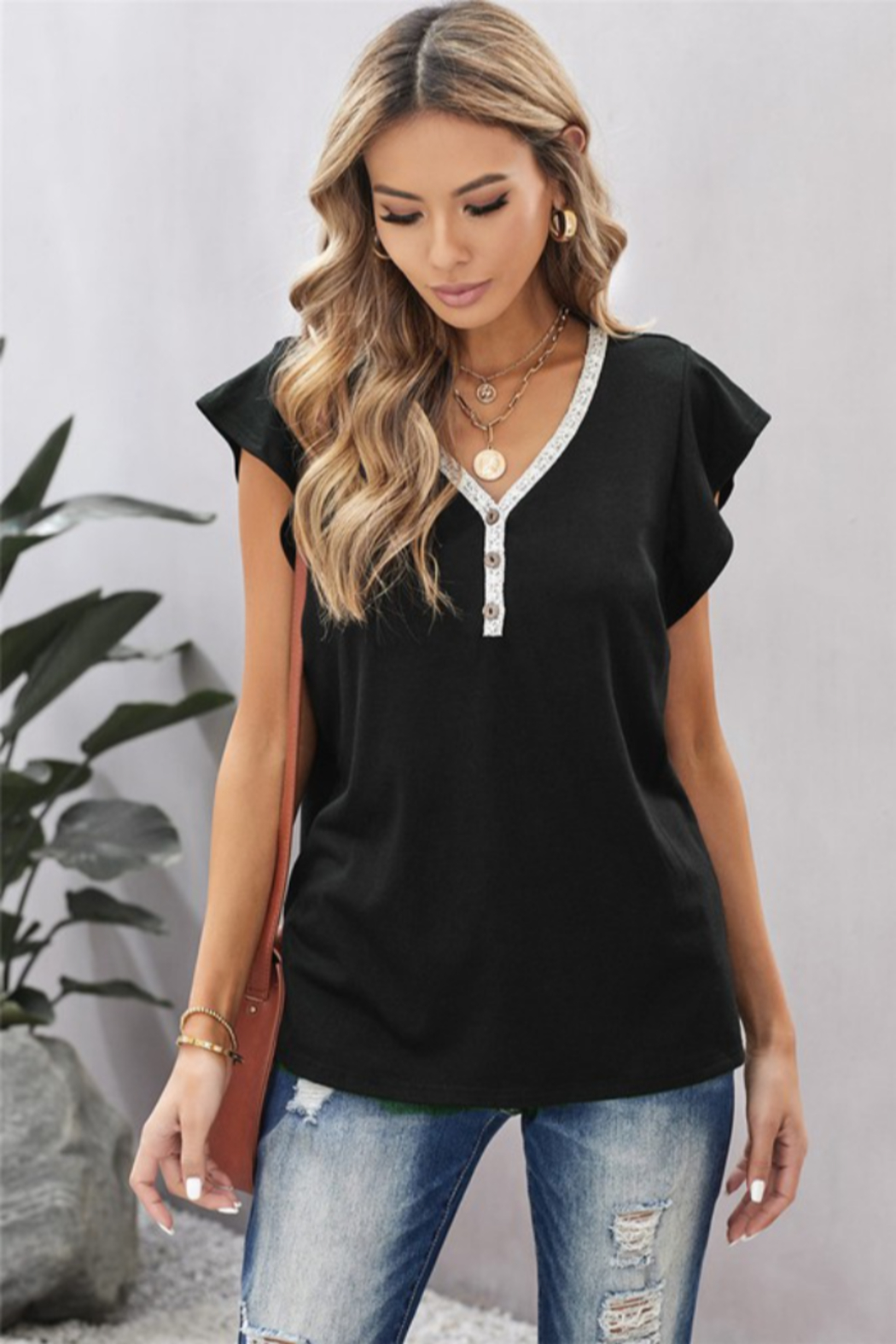Shewin V Neck Lace Trim Short Sleeve Tee - Main Image